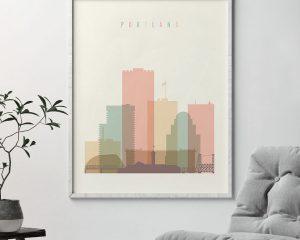 Portland art print skyline pastel cream second