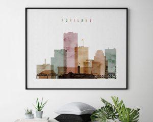 Portland poster watercolor 1 landscape second