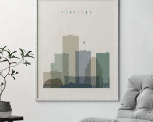 Portland print skyline earth tones 1 second
