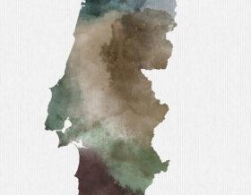 Portugal map print detail