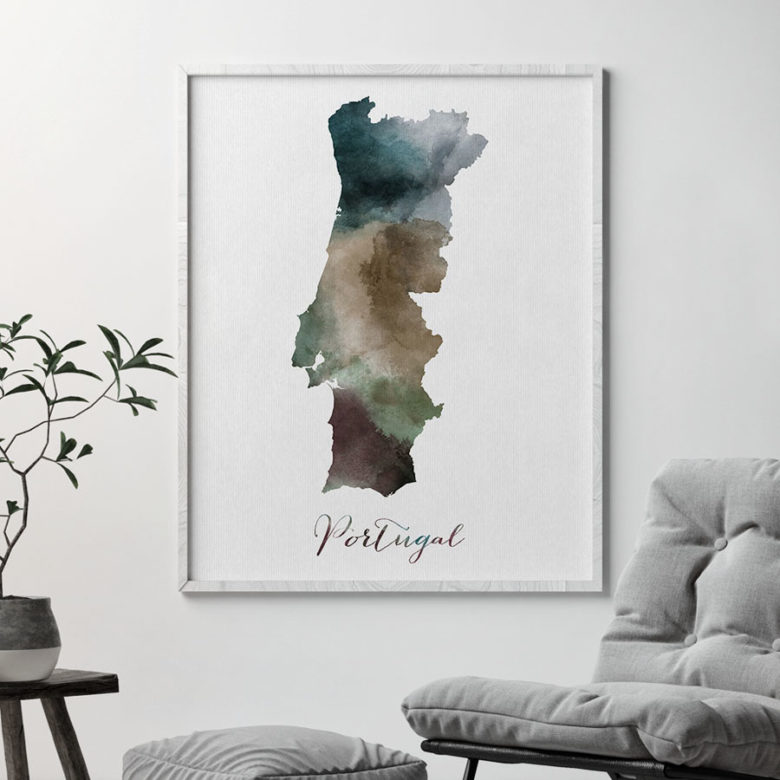 Portugal map print second