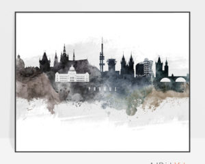 Prague art poster watercolor