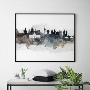 Prague art poster watercolor second