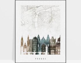 Prague map print poster watercolor 2
