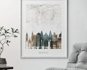 Prague map print poster watercolor 2 second