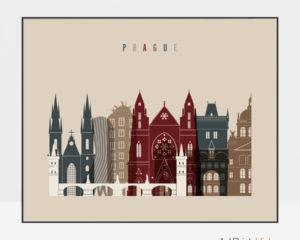 Prague print landscape earth tones 2