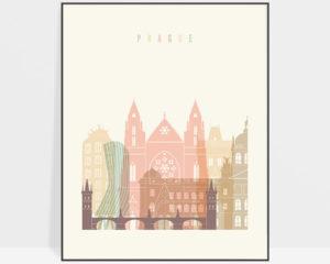 Prague art print skyline pastel cream