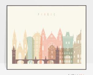 Prague travel poster pastel cream landscape
