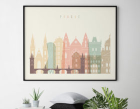 Prague travel poster pastel cream landscape second