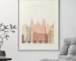 Prague art print skyline pastel cream second