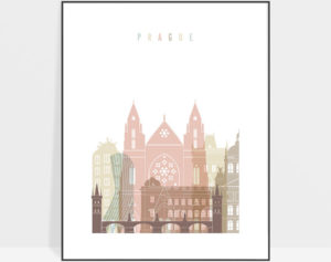 Prague wall art pastel white