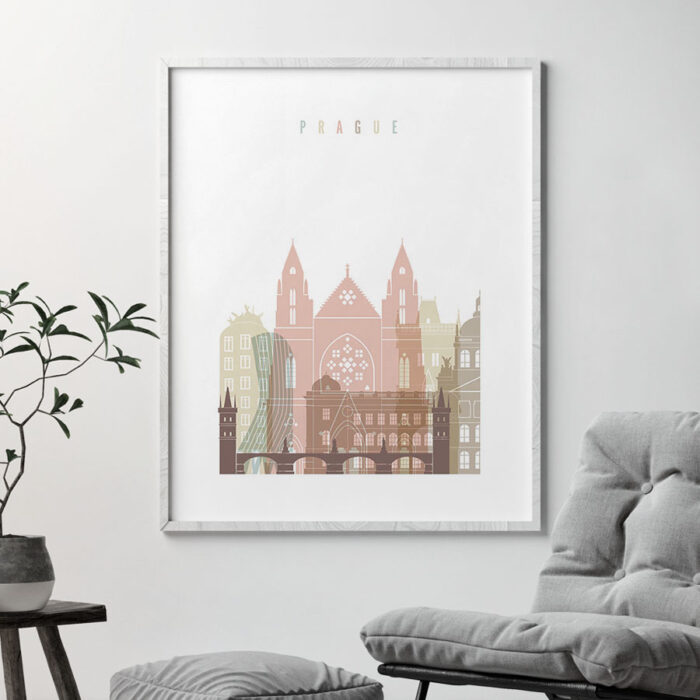 Prague wall art pastel white second