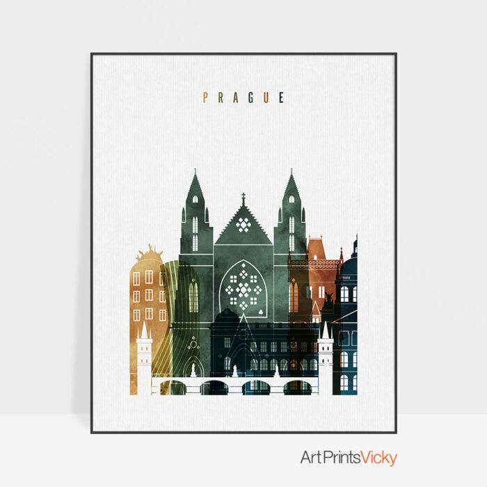 Prague skyline art print watercolor 3