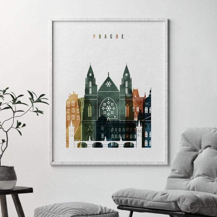 Prague skyline art print watercolor 3 second
