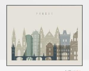 Prague print earth tones 1 landscape