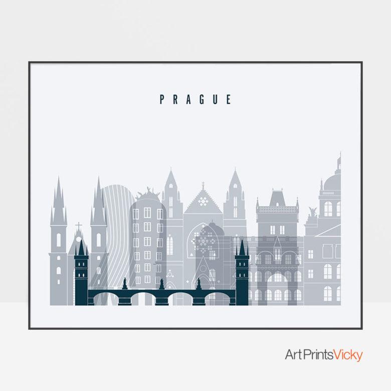 Prague skyline art grey blue landscape