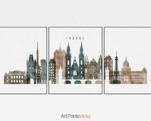 Prague set of 3 prints skyline watercolor 2