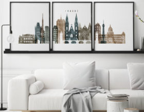 Prague set of 3 prints skyline watercolor 2 second