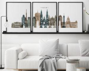 Prague set of 3 prints skyline watercolor 2 second