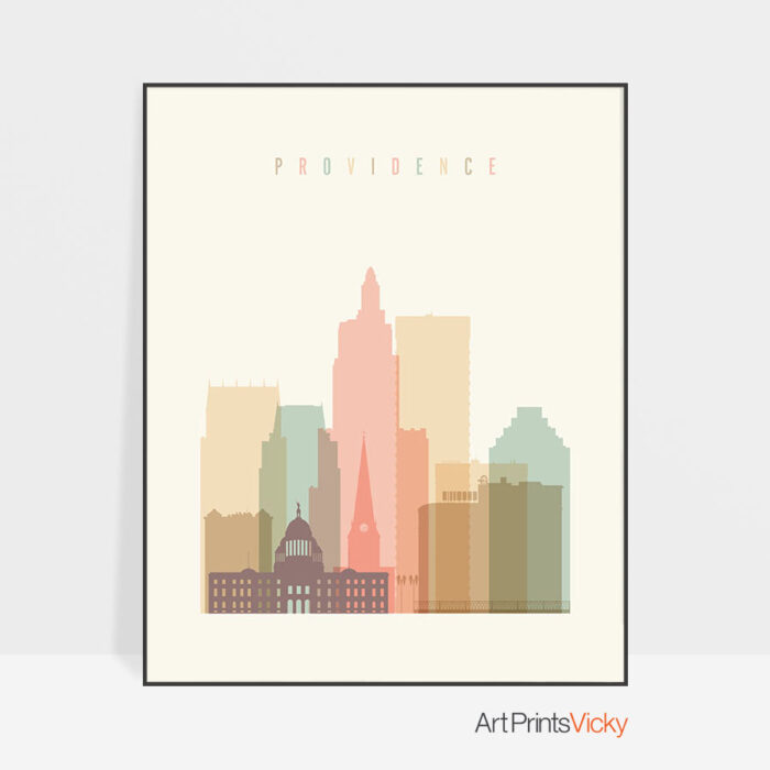 Providence art print skyline pastel cream