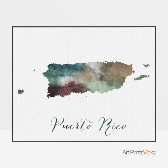 Puerto Rico map poster