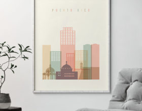 Puerto Rico art print skyline pastel cream second
