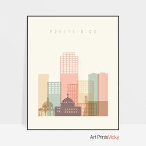 Puerto Rico art print skyline pastel cream