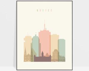 Quebec art print skyline pastel cream