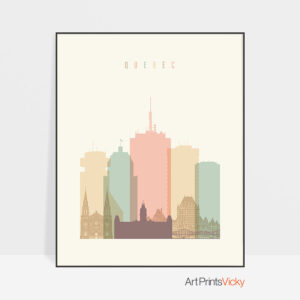 Quebec art print skyline pastel cream
