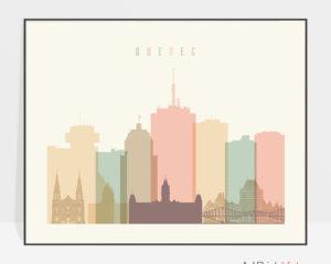 Quebec poster skyline pastel cream landscape