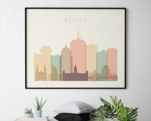 Quebec poster skyline pastel cream landscape second