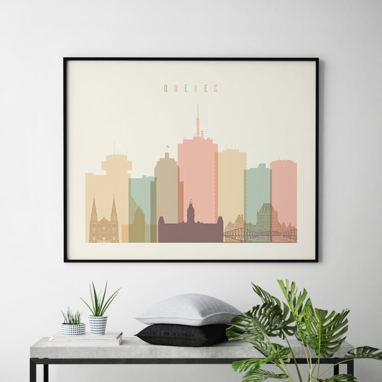 Quebec poster skyline pastel cream landscape second