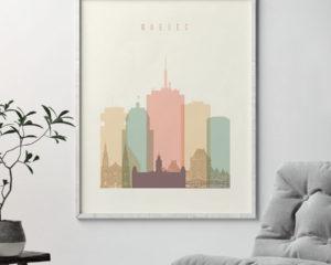 Quebec art print skyline pastel cream second
