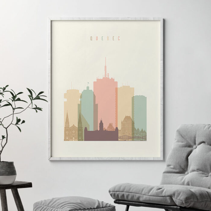 Quebec art print skyline pastel cream second