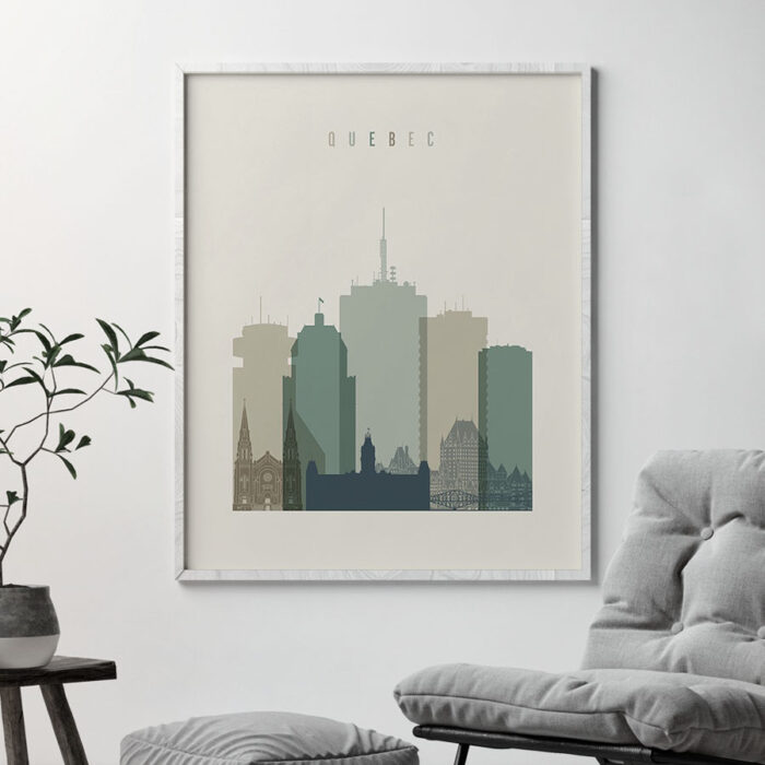 Quebec print skyline earth tones 1 second