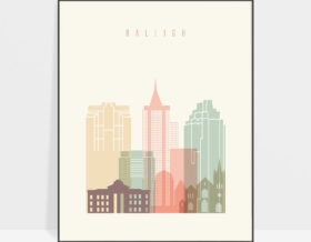 Raleigh art print skyline pastel cream