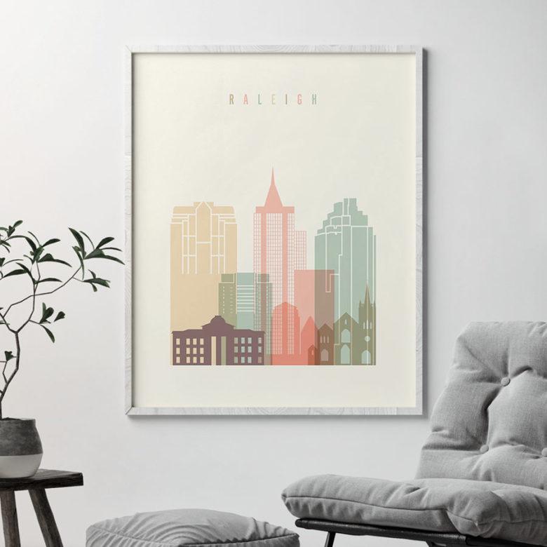 Raleigh art print skyline pastel cream second