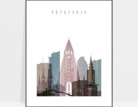 Reykjavik skyline poster distressed 1