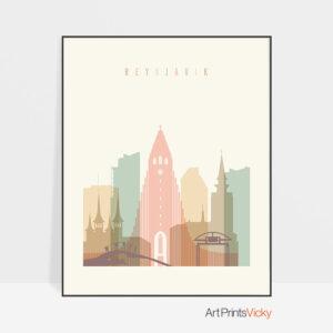 Reykjavik art print skyline pastel cream