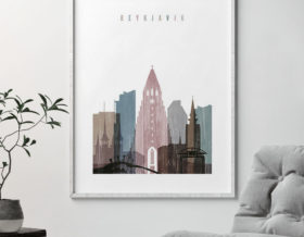 Reykjavik skyline poster distressed 1 second