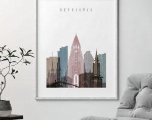 Reykjavik skyline poster distressed 1 second