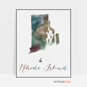 Rhode Island State map print