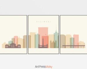 Richmond skyline set of 3 prints pastel cream