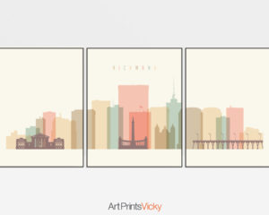 Richmond skyline set of 3 prints pastel cream