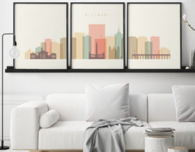 Richmond skyline set of 3 prints pastel cream second