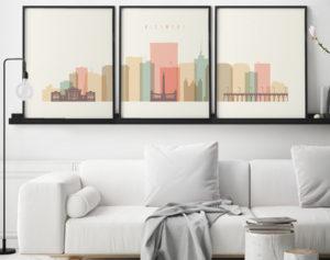 Richmond skyline set of 3 prints pastel cream second