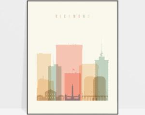 Richmond art print skyline pastel cream