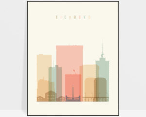 Richmond art print skyline pastel cream