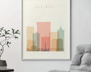 Richmond art print skyline pastel cream second
