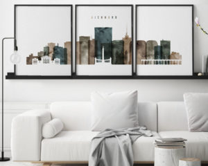 Richmond triptych wall art watercolor 2 second